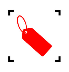 tag sign red icon inside vector image
