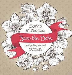 Beautiful elegant wedding invitation with orchid vector image