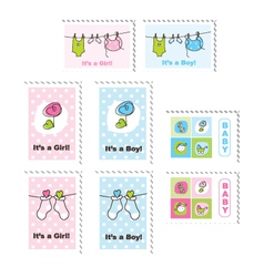 Cute baby stamps vector image vector image