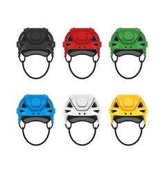 flat style set of hockey helmet icon for web vector image