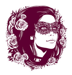 girl in vintage mask with hair decorated with vector image vector image
