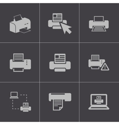 balck printer icons set vector image vector image