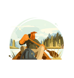 bearded man in canoe vector image vector image