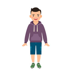 boy in hoody isolated on white vector image vector image