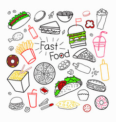 fast food hand drawn elements set with burgers vector image vector image