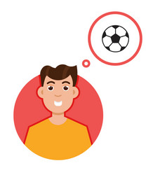 man thinking about soccer character vector image vector image