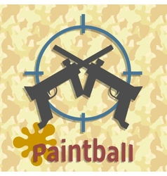 Paintball guns and splash poster vector image vector image