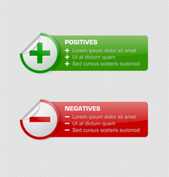 Positives and negatives stickers vector image vector image