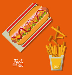 poster fast food in orange background with hotdog vector image