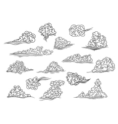 Retro scrolling black and white clouds vector image vector image