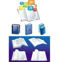 set of books in different viewpoints vector image vector image