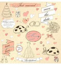 Vintage wedding set vector image vector image