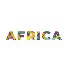 Africa concept retro colorful word art vector
