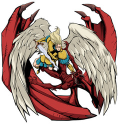 Angel versus devil vector