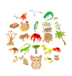 animal shelter icons set cartoon style vector image