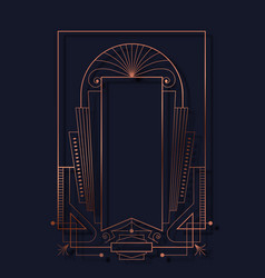 Art deco copper abstract line frame background vector