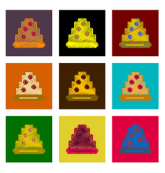 assembly of flat shading style pixel icon pizza vector image
