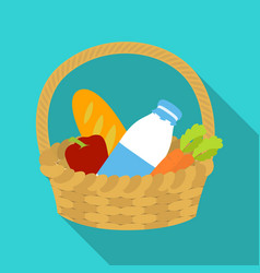 Basket with products icon in flate style isolated vector