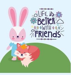 best friends cute rabbit and fox in grass vector image