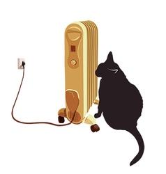 Black cat basking near the heater vector image