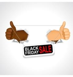 black hands holding a black friday sale banner vector image