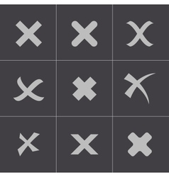 black rejected icons set vector image