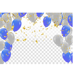 Blue and white balloons flying on gray background vector