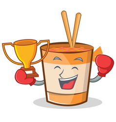 Boxing cup noodles character cartoon vector