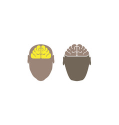 brain in head logo white background vector image