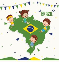 Brazil flag and kids vector