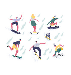 bundle teenage boys and girls or skateboarders vector image