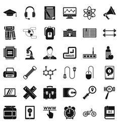 Business training icons set simple style vector