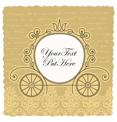 Carriage wedding invitation design vector