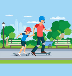 cartoon father teaching son to ride on skate vector image