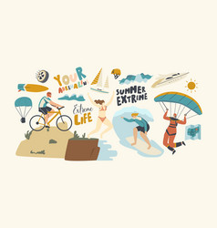 characters summer extreme sport activity surfing vector image