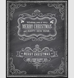 christmas and happy new 2019 year chalkboard vector image