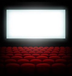 Cinema hall with screen and red seats eps 10 vector