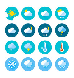 colored weather icons in flat style different vector image