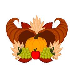 Cornucopias with grapes and a pumpkin vector