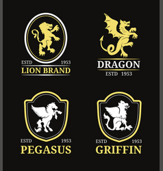 Crest monogram templates luxury pegasus vector