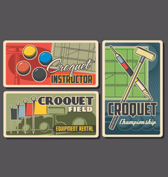 croquet sport retro posters mallet peg and balls vector image