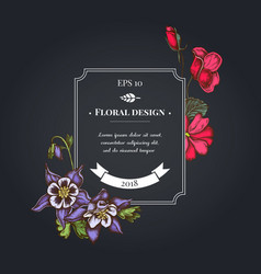 Dark badge design with impatiens tigridia vector