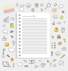 Date on notes and icons on vector