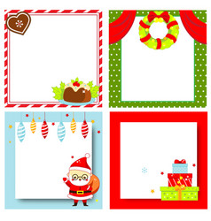 Decorated christmas frames new year blank vector