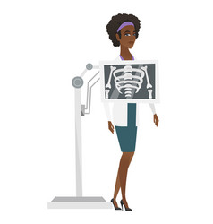 Doctor during x ray procedure vector