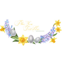Easter watercolor arc with hyachinth and daffodil vector