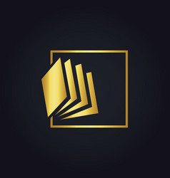 gold book abstract education logo vector image