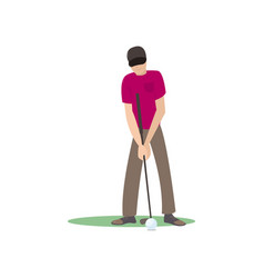 Golf player kicking ball isolate on white vector