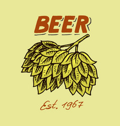 green hops for brewing beer template emblem or vector image
