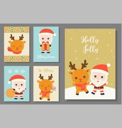 greeting card hand drawn doodle christmas set vector image